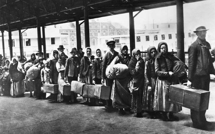 Immigrants queuing at Ellis Island in 1892