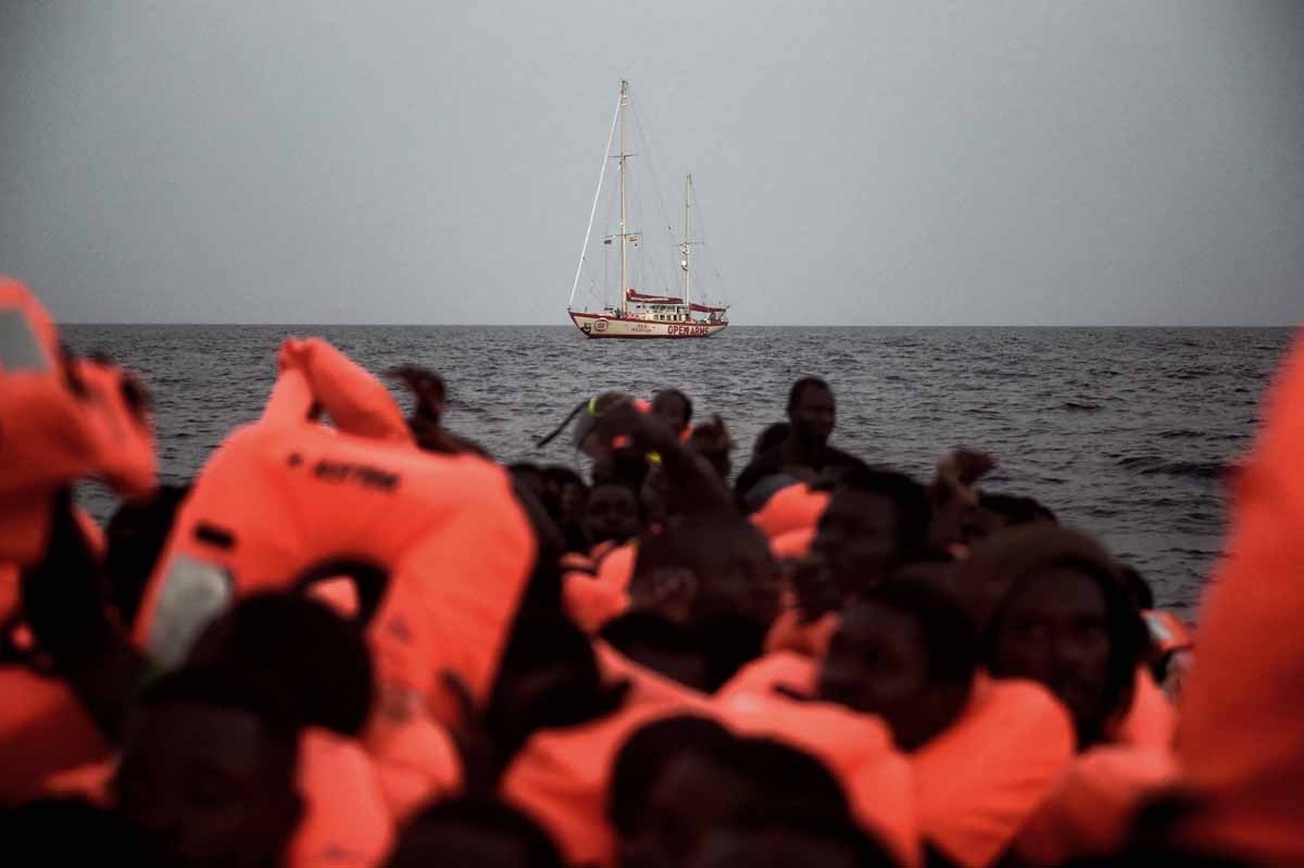 The sailing boat Astral of Spanish humanitarian NGO Proactiva Open Arms, sails off the coast of Libya on October 3, 2016.